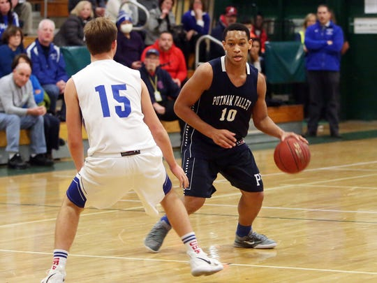 Putnam Valley defeated Haldane 56 - 31 in boys basketball action at Brewster High School  Jan. 26, 2018.