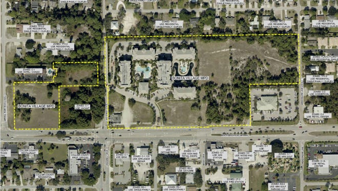 An aerial map shows the proposed site for the hotel, condos and commercial space outlined in yellow.