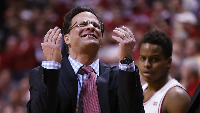 What is the fate of Indiana coach Tom Crean, shown here vs. Purdue in February, with the team struggling down the stretch?