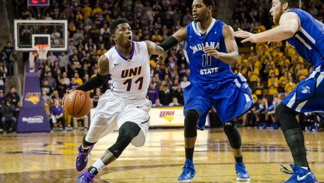 Northern Iowa guard Wes Washpun (11) is defended by Indiana State guard Devonte Brown (11) during the second half at McLeod Center on Jan. 21.