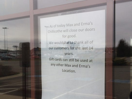 A sign on the doors at Max & Erma's announced the sudden