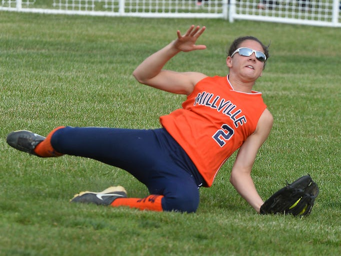 Millville's Brittany Rivera made a last out catch to beat Clearview 2-1.   May 20, 2014.  Staff photo/Craig Matthews