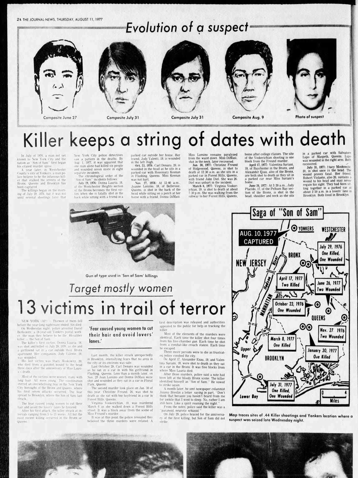 Page 2A of The Journal News from Aug. 11, 1977, when