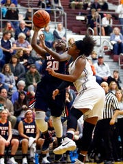 Beech's Shyie Hoosier (20) is fouled by Station Camp's Ty Holt during their game, Friday, Jan. 19, 2018, in Gallatin, Tenn. (Photo by Wade Payne, Special to the Tennessean)