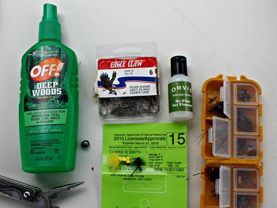 Things we took along: bug spray, hooks, flies, a fishing license, pliers.