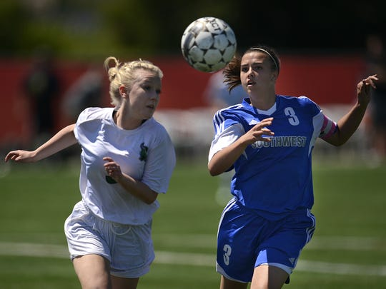 Green Bay Southwest's Paige Pierce (3) and Rhinelander's Kylie Preul (3) battle for the ball in the first half during Friday's Division 2 semifinal game in the WIAA state girls soccer tournament at Uihlein Soccer Park in Milwaukee.