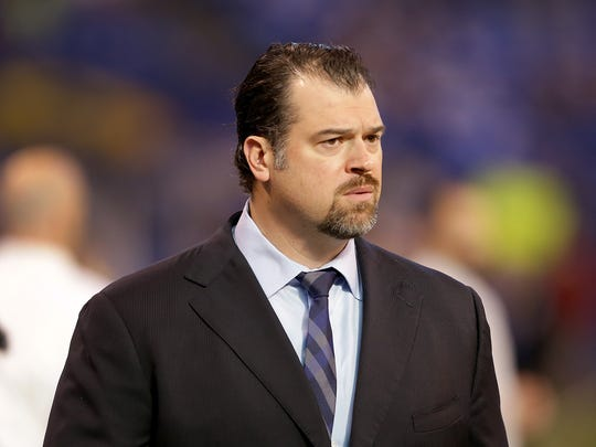 Indianapolis Colts general manager Ryan Grigson before the start of  their NFL football game against the Jacksonville Jaguars Sunday, Jan.1, 2016, at Lucas Oil Stadium.