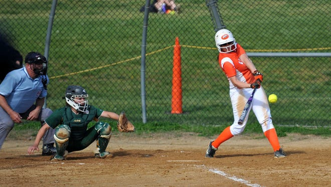 Cumberland Regional's Alyssa Donato (20) hits against Clearview, Monday, May 2, 2016 in Upper Deerfield.