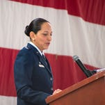 Lt. Col. Susana Corona Smith said a few words at her Assumption of Command ceremony on Oct. 18 at Kirtland Air Force Base.