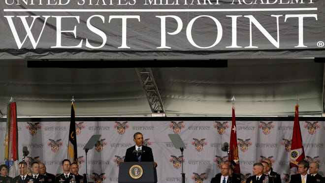 """President Barack Obama delivers the commencement address during a graduation and commissioning ceremony at the U.S. Military Academy last week at West Point. In a broad defense of his foreign policy, the president declared that the U.S. remains the world's most indispensable nation, even after a """"long season of war,"""" but argued for restraint before embarking on more military adventures."""