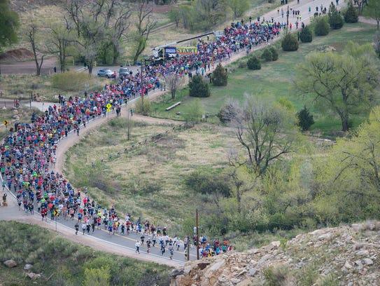 Runners begin the Horsetooth Half Marathon on Sunday,