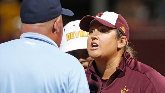 ASU's head coach Trisha Ford argues an out call with an umpire during the fourth inning against South Carolina at ASU Farrington Stadium in Tempe, Ariz. on May 25, 2018.
