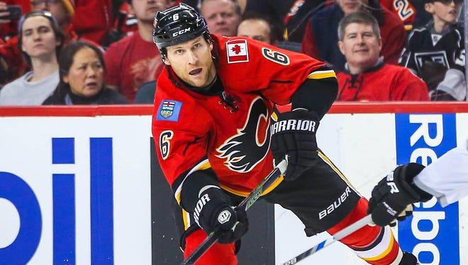 Calgary Flames defenseman Dennis Wideman has 19 points this season.