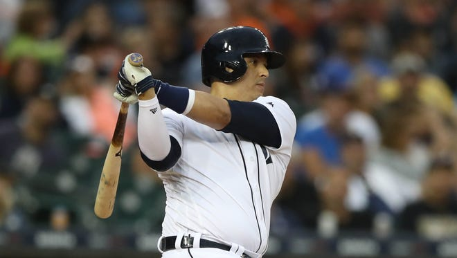 Tigers' Victor Martinez strikes out against the Royals in the fifth inning Wednesday, June 28, 2017 at Comerica Park in Detroit.