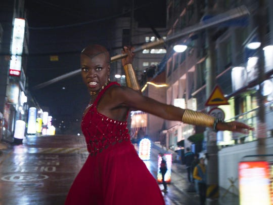 "Danai Gurira appears in a scene from Marvel Studios' ""Black Panther."""