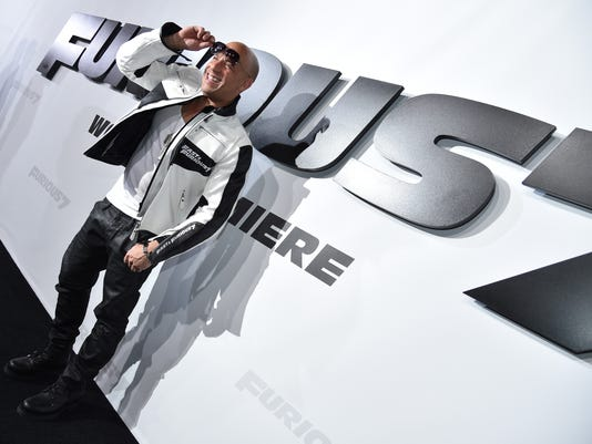 """Vin Diesel arrives at the premiere of """"Furious 7"""" at the TCL Chinese Theatre IMAX in Los Angeles."""
