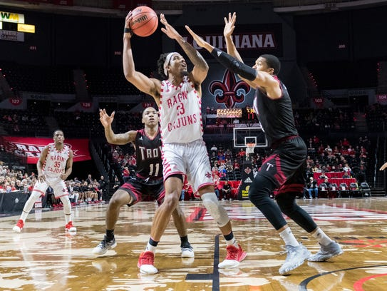 UL's JaKeenan Gant scored a career-high 24 points in the Cajuns' 81-69 win over Troy on Saturday at the Cajundome.