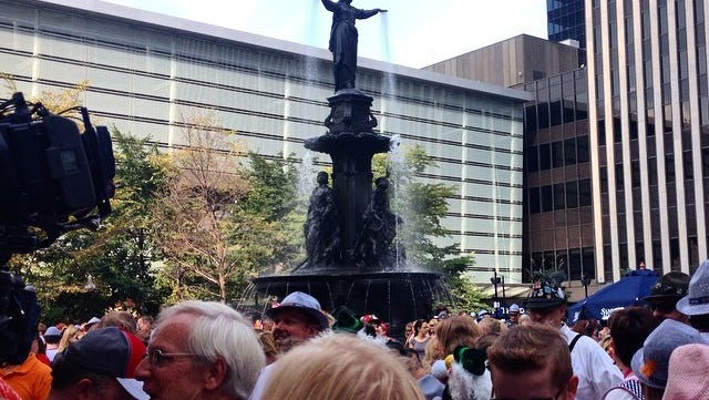A frenzy of people waiting for the chicken dance at #oktoberfest #zinzinnati.