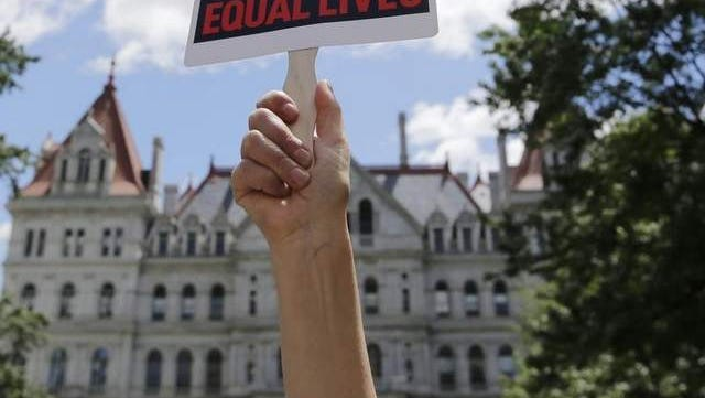 A 2013 Albany rally in support of the Women's Equality Act.
