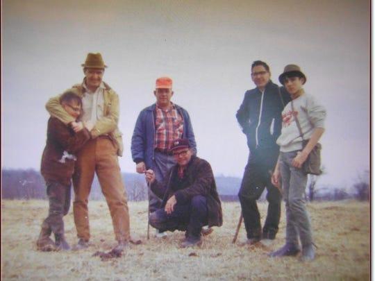 Hikers Stuart Ferguson, Asa Rouse Albert Martin, Bruce, Tom Schiffer, Mills Rouse.