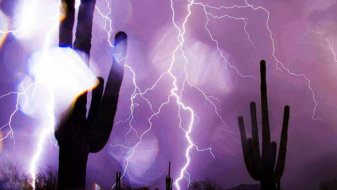 Lightning from the monsoon storm that swept through the Valley on July 26, 2014.