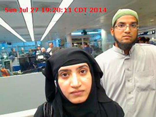 Tashfeen Malik, left, and Syed Farook are seen in this