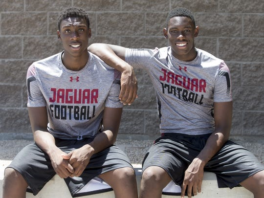 Jason Harris, left, and his brother Jalen, when they were in high school at Mesa Desert Ridge together on May 28, 2016.