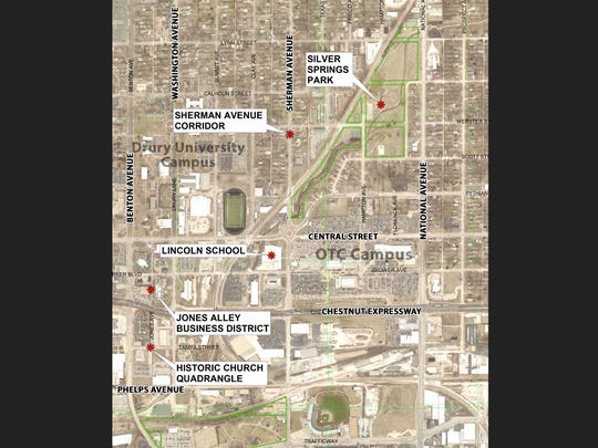 A preliminary map shows some sites that will likely be recognized on a new African-American Heritage Trail in Springfield.