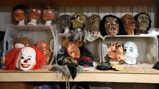 Masks, costumes and props are all organized and ready for the scare masters at Molitor's Haunted Acres in Sauk Rapids.