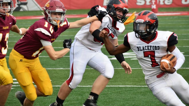 Blackford's Isaac Justice runs the ball in the Bruins' 70-52 win over Alexandria at Ball State on Saturday, Sept. 15.