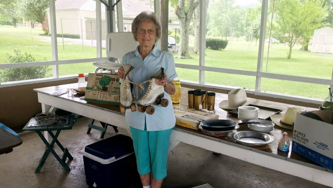 Marjorie Grizzard had a hard time finding an organization that would pick up items that didn't sell in her family's moving sale. Among the items that didn't sell are a pair of prized roller skates that she wore in the 1940s, as well as a table full of household goods.