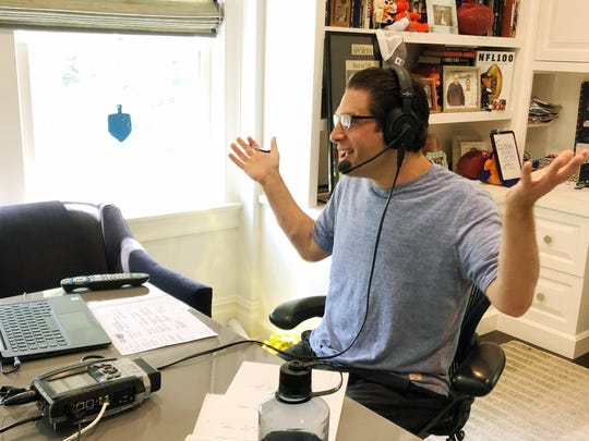 SiriusXM satellite radio host Adam Schein does his daily radio show from his home in New York. With the coronavirus pandemic forcing radio and television stations to do most of their work from home, SiriusXM was ahead of the curve since most of their sports talk show hosts already did shows out of their homes.