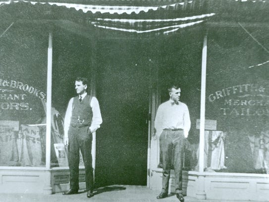 N. W. Brooks, left, and A. W. Griffith in front of