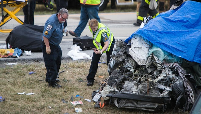 Crews are at the scene of a crash that killed five New Jersey family members near Townsend on Friday, July 6, 2018.