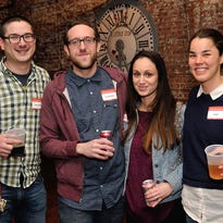 Hudson Valley Tech Meetup co-founders Daniel Schutzsmith, Sabrina Schutzsmith, Kale Kaposhilin and Daniel Stone welcome 246 members to their monthly meetup at Senate Garage in Kingston on March 30. Local technologists Michael D'Agostino (Tentrr.com), Michael Muyot (CRD Analytics), Matt Stinchcomb (Etsy.org) and 19th district congressional candidate Zephyr Teachout all spoke from stage that night.