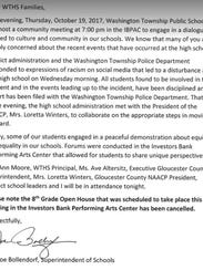 Washington Township Public Schools issued a letter