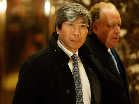 Dr. Patrick Soon-Shiong arrives in the lobby of Trump Tower in New York, Tuesday, Jan. 10, 2017, for a meeting with President-elect Donald Trump.