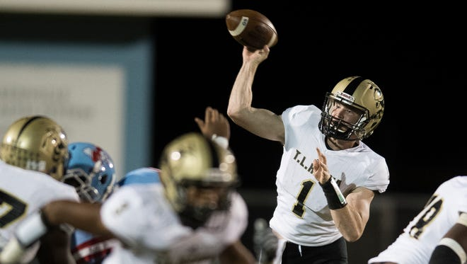 Hanna's Alex Meredith (1) throws the ball during their game against J.L. Mann at J.L. Mann on Friday, Oct. 20, 2017.