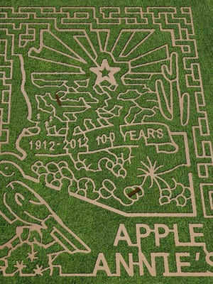 The 2012 centennial corn maze at Apple Annie's Orchard in Willcox.