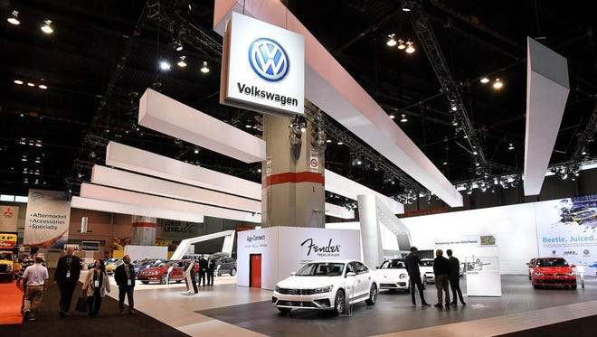 The Volkswagen display at the Chicago Auto Show.