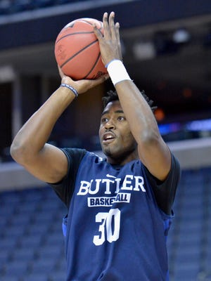 Butler Bulldogs forward Kelan Martin (30) shoots during practice the day before the South Regional semifinals of the 2017 NCAA Tournament at FedExForum.
