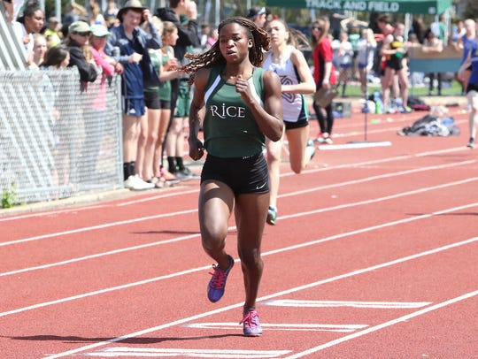Rice's Sonia John is No. 1 in three individual events for Saturday's D-II track and field state meet.