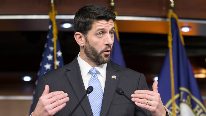 House Speaker Paul Ryan of Wisconsin. speaks during an end-of-the-year news conference on Capitol Hill in Washington.