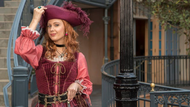 """Redd, a """"fierce and indpendent pirate"""" according to Disney, will walk the plank ... er, the park. meeting guests and posing for photos near Pirates of the Caribbean."""