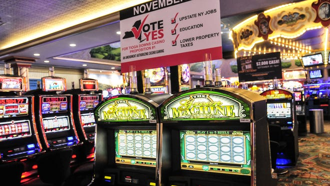 """Prior to the 2013 statewide vote on gambling expansion, Proposition No. 1, a sign pushes a """"yes"""" vote at Tioga Downs."""