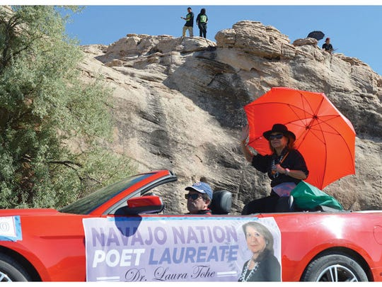 Dr. Laura Tohe is recognized as the next Navajo Nation poet laureate during the Navajo Nation Fair parade in Window Rock, Ariz., on Sept. 12