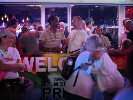 The scene at the Palm Springs Pride block party on Arenas Rd. in Palm Springs on Saturday.