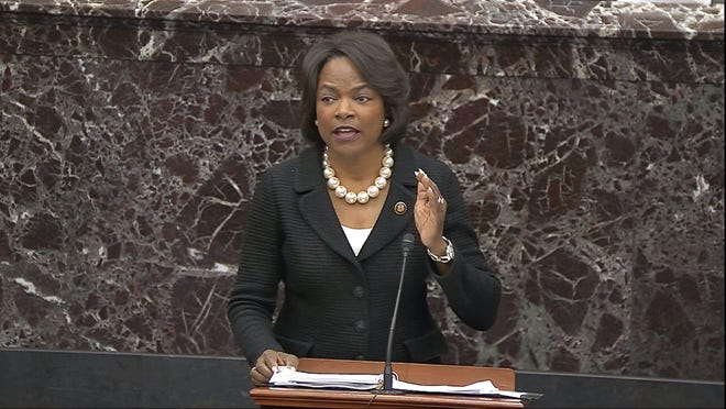 In this image from video, House impeachment manager Rep. Val Demings, D-Fla., speaks during debate ahead of a vote on calling witnesses during the impeachment trial against President Donald Trump in the Senate at the U.S. Capitol in Washington, Friday, Jan. 31, 2020.