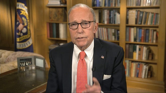 In this image from video, White House chief economic adviser Larry Kudlow speaks during the second night of the Republican National Convention on Tuesday, Aug. 25, 2020.