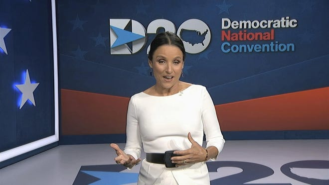 In this image from video, Julia Louis-Dreyfus, serving as moderator, speaks during the fourth night of the Democratic National Convention on Thursday, Aug. 20, 2020.